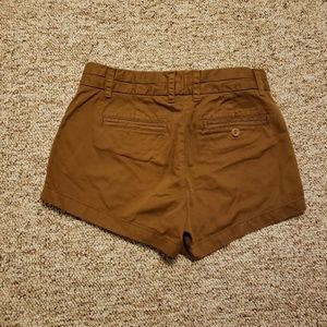 J Crew Womens Chino Shorts Brown Flat Front Above